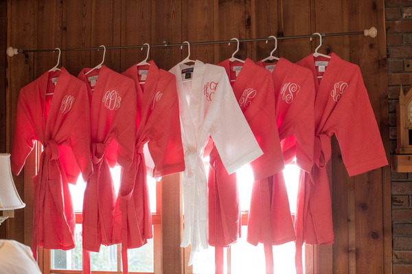 Bride and bridesmaid dressing gowns