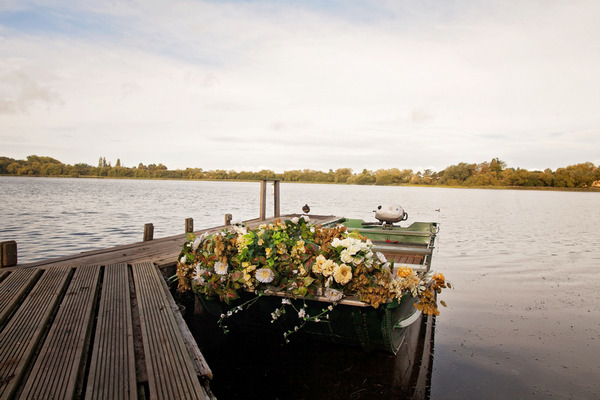 Boat covered in rustic flowers