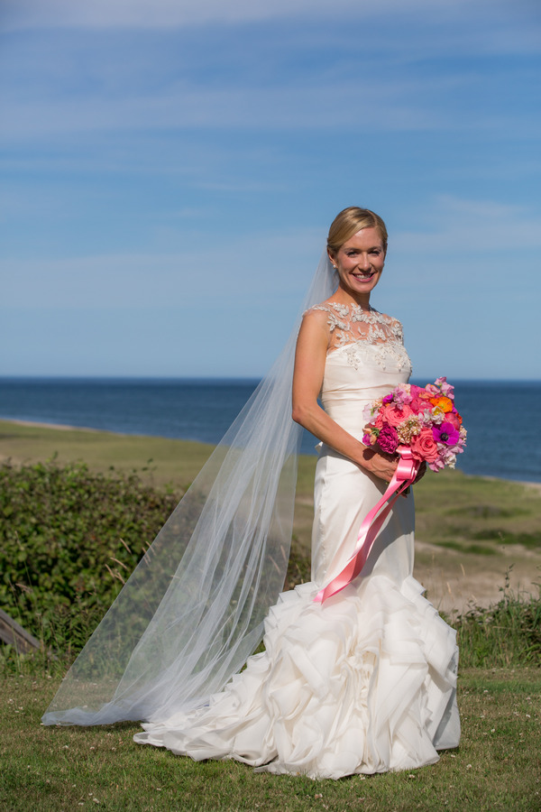 Bride with colourful bouquet on Nantucket Island
