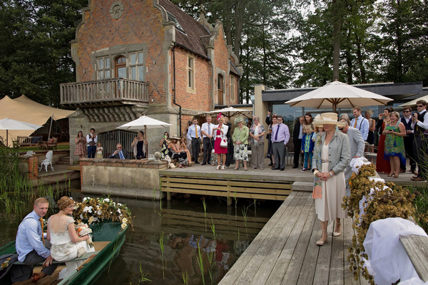 Boat mooring at wedding venue
