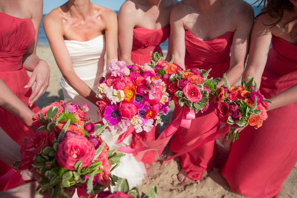 Bride and bridesmaids' colourful bouquets