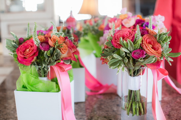 Colourful wedding bouquets