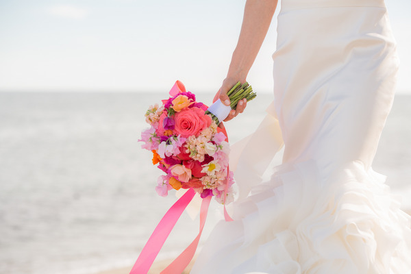 Bride's brightly coloured bouquet