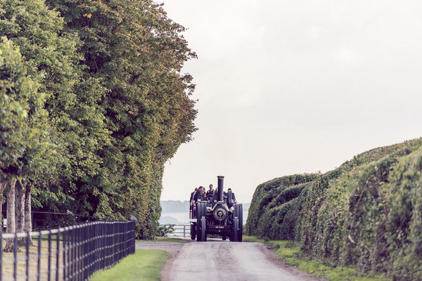 Vintage farm steam engine wedding transport