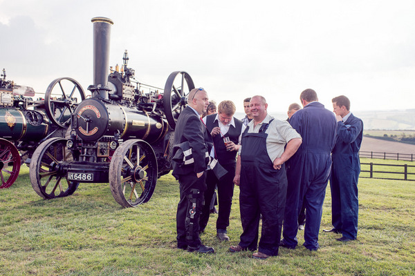Vintage farm steam engine drivers
