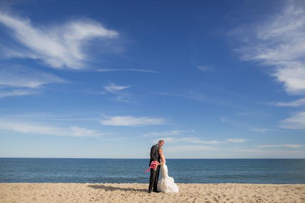 Bride and groom on Nantucket Island beach