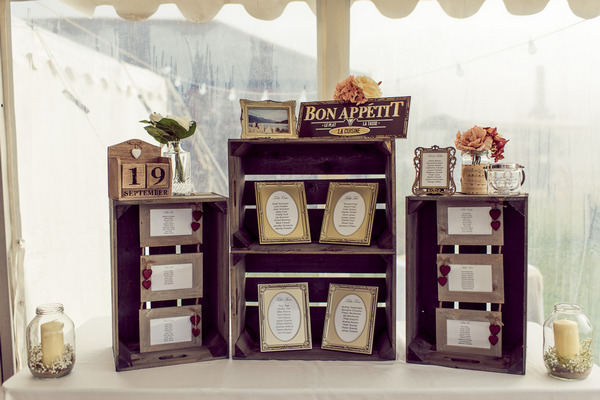 Vintage style wedding seating plan