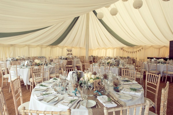 Wedding table in marquee