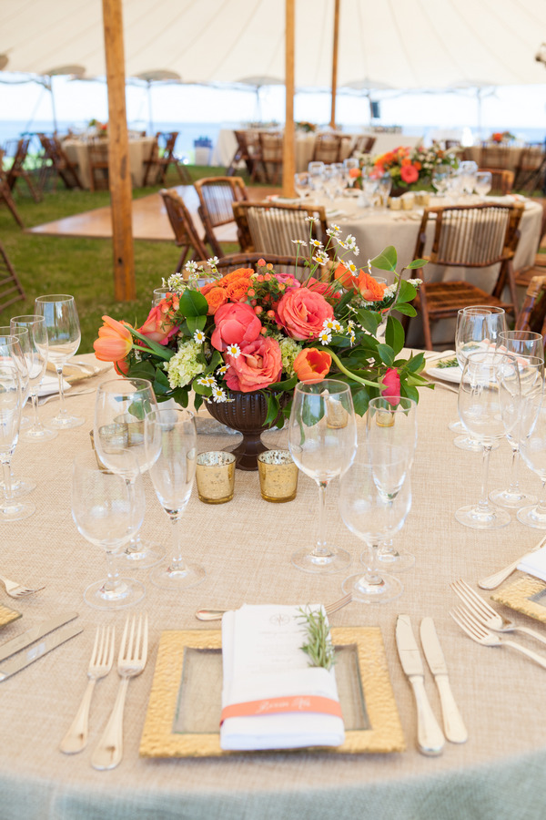 Wedding table with bright flowers