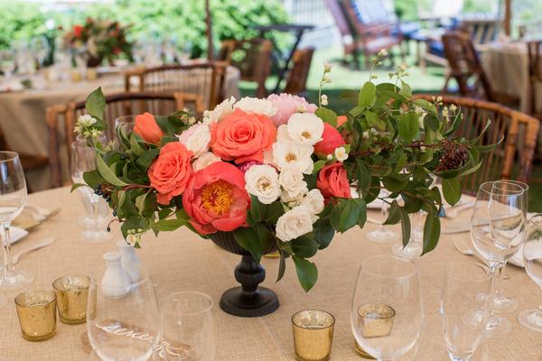 Bright wedding flowers centrepiece