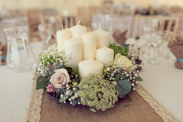 Vintage candle wedding table centrepiece