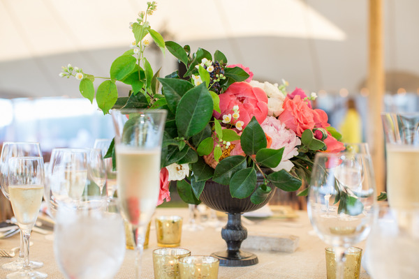 Bright flowers on wedding table