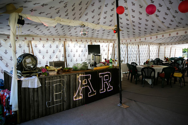 Bar in wedding marquee