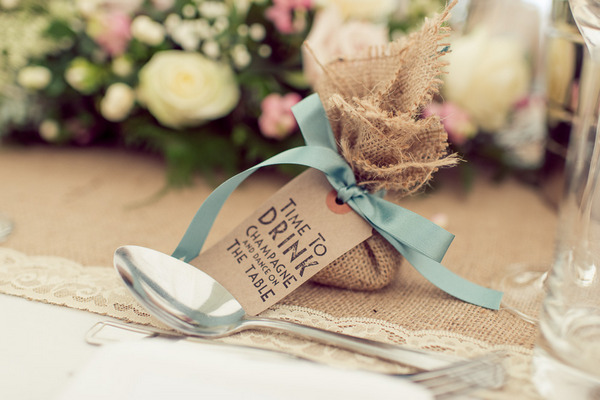 Wedding favour in hessian bag