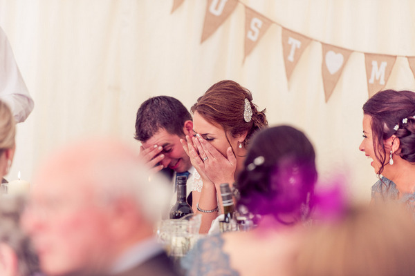 Bride and groom embarrassed by speech