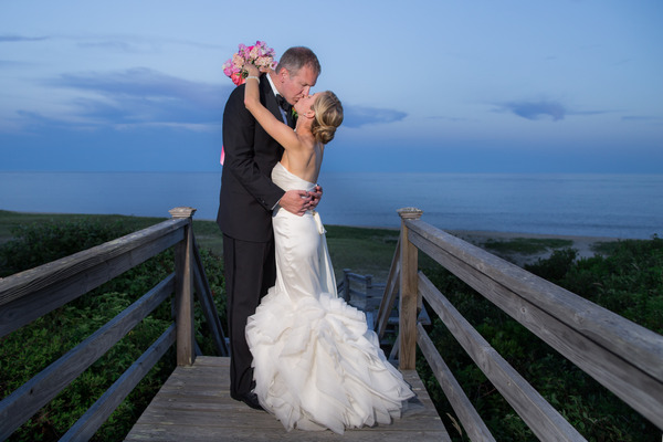 Bride and groom kissing on Nantucket Island