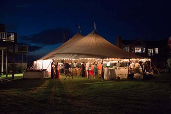 Wedding party in marquee on Nantucket Island