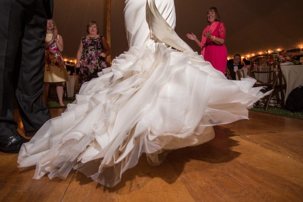 Bride's dress twirling on dance floor