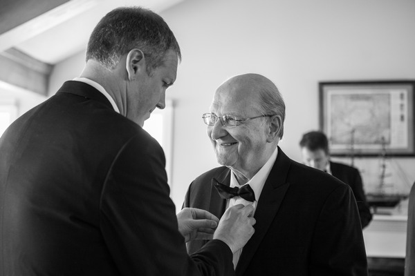 Groom and father before wedding