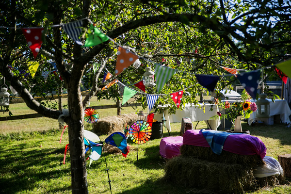 Colourful wedding bunting hanging from trees