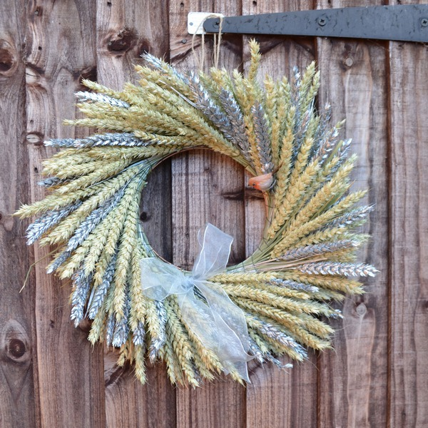 Natural and Silver Wheat Wreath from Shropshire Petals