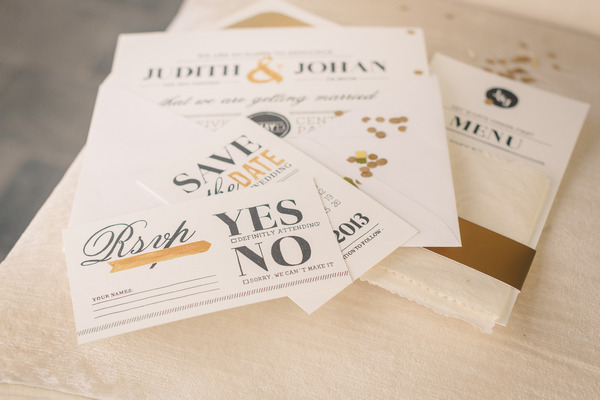 Wedding stationery with gold detail