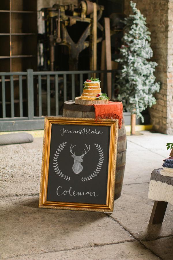 Chalkboard sign and naked wedding cake