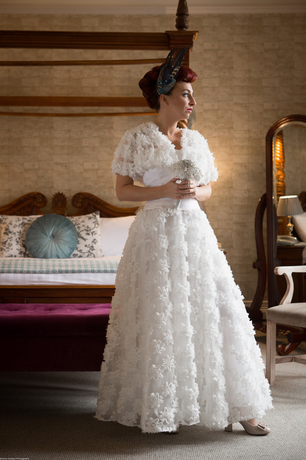 Bride with winter wedding dress
