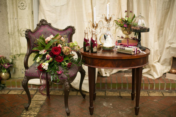 Antique table and elegant chair