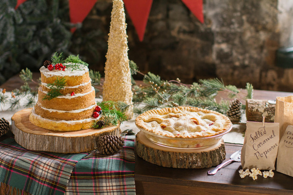 Pie and wedding cake table