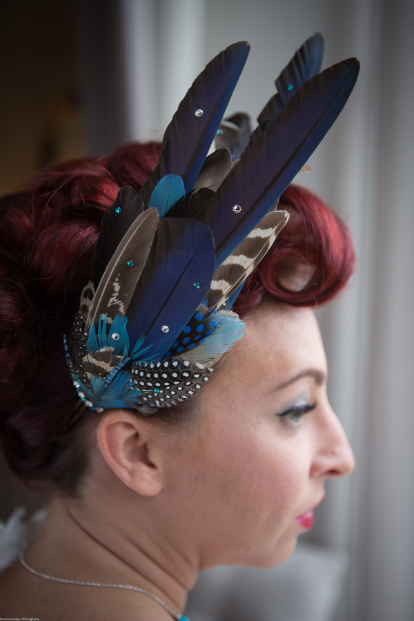 Blue feather wedding hairpiece
