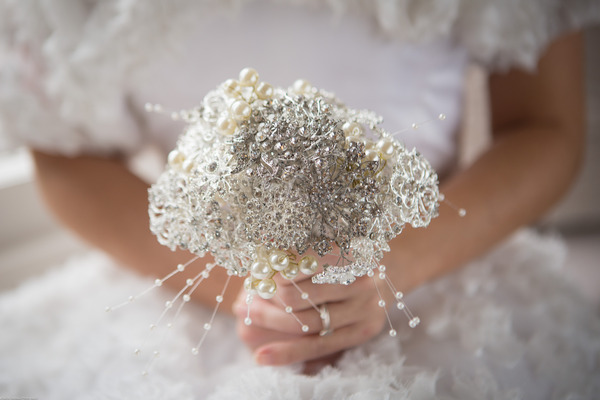 Bride's small white bouquet