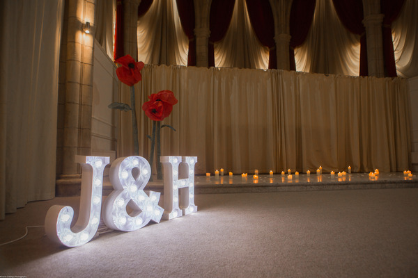 Large J and H illuminated letters in The Great Hall at The Alverton Hotel