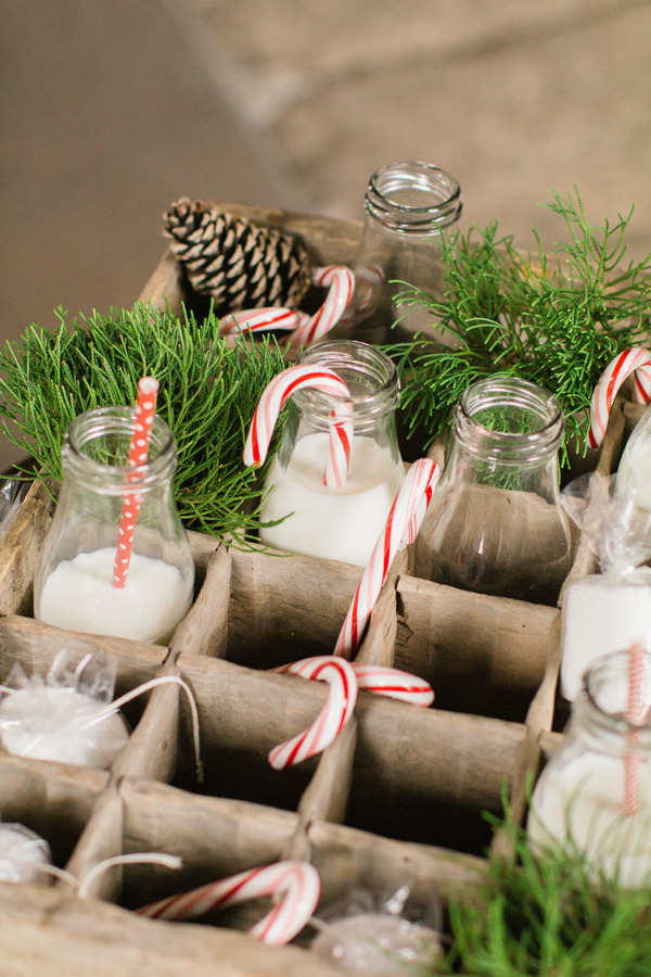 Milk bottles with Christmas candy canes