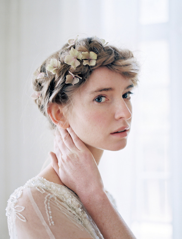 Bride with updo and flowers in hair