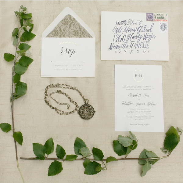 Elegant wedding stationery and pendant