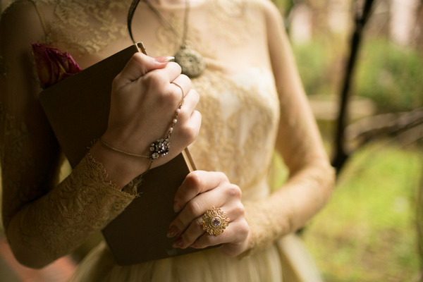 Bride holding book