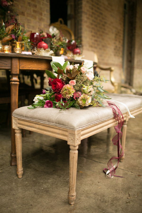 Stool with large bridal bouquet