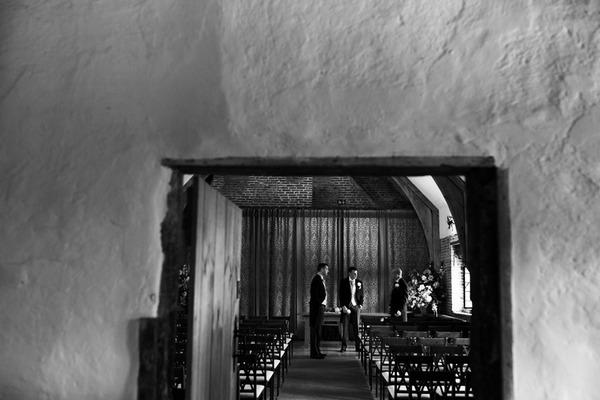 Groom and best man in wedding ceremony venue