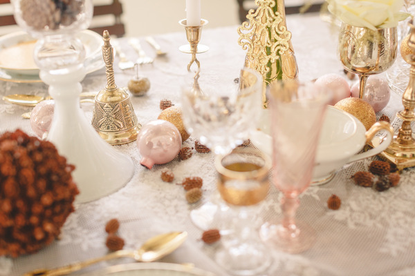 Wedding table with blush pink details