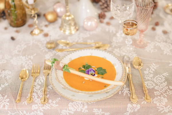 Bowl of soup on wedding table