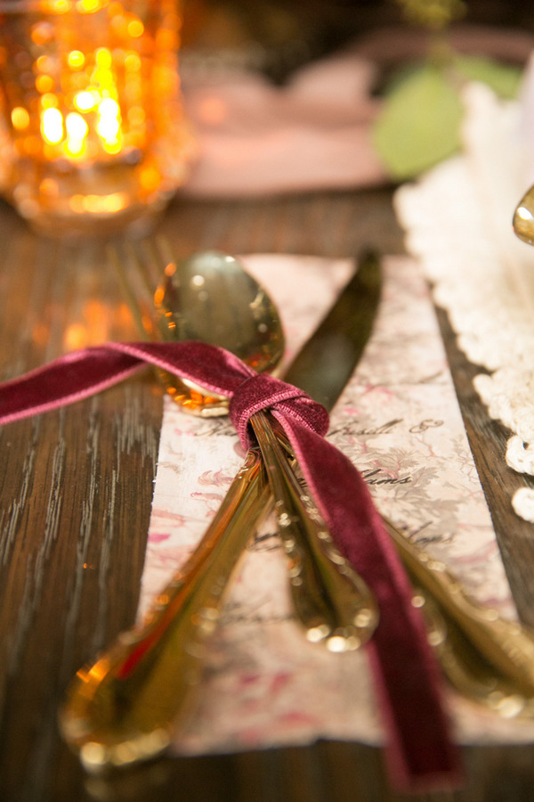Cutlery tied with marsala coloured ribbon