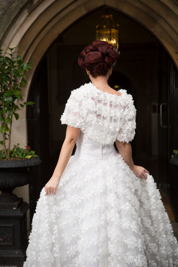 Back of bride's winter wedding dress