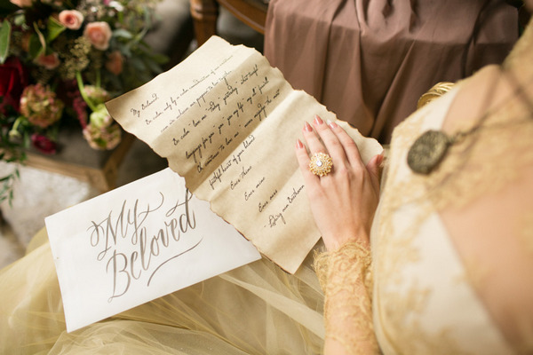 Bride opening Beethoven inspired love letter