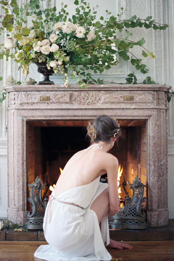 Bride in front of fire