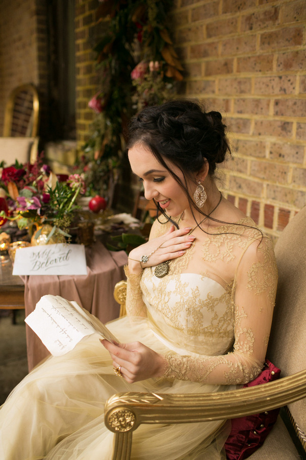 Bride reading love letter