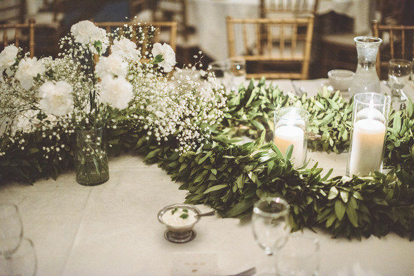 Green foliage wedding table centrepiece