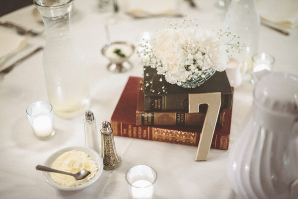 Old books for wedding table number