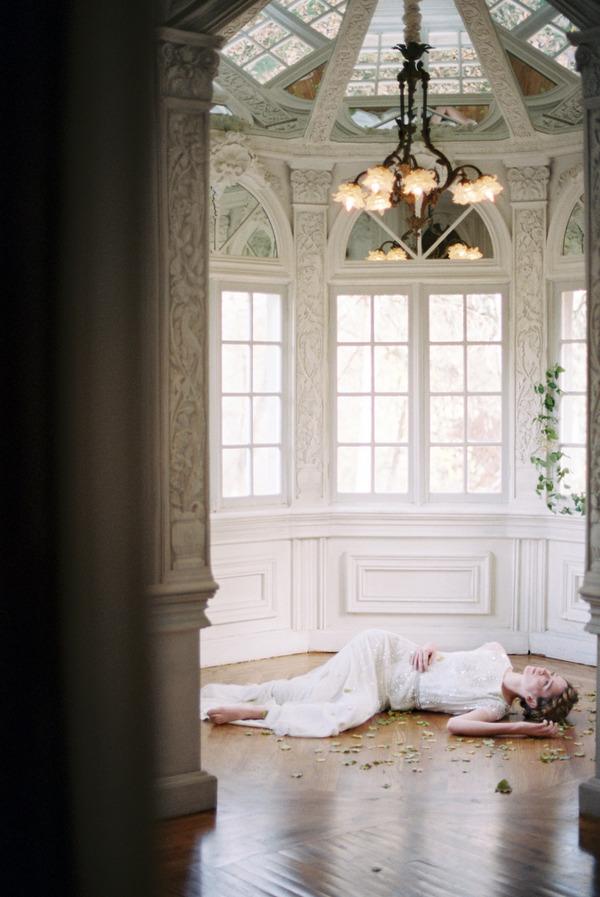 Bride laying on floor