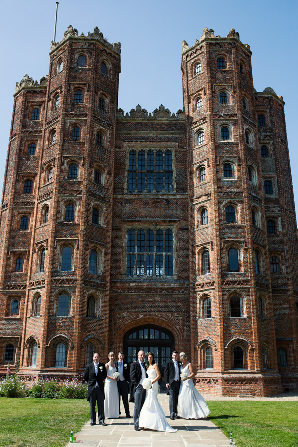 Wedding party outside Layer Marney Tower